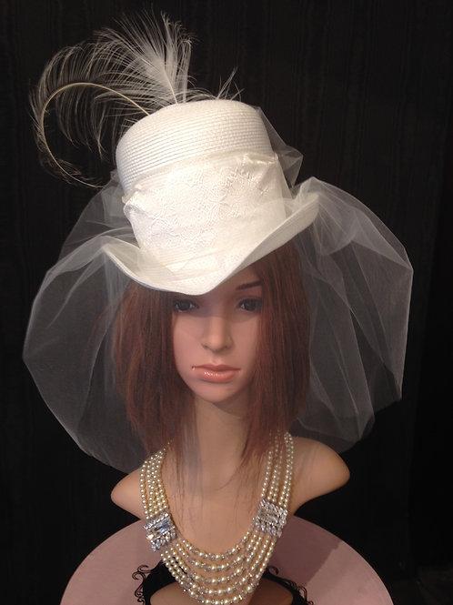 White straw Rider with veil