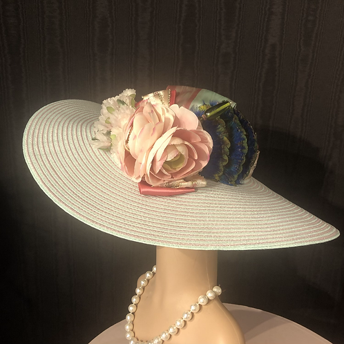 Rose and mint striped straw round crown 5 inch