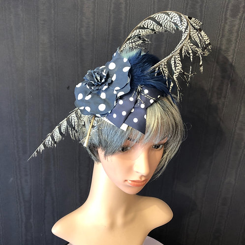 Navy Polka Dot Fascinator