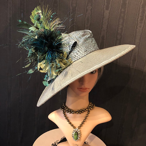 Silver straw Bonnet with peacock