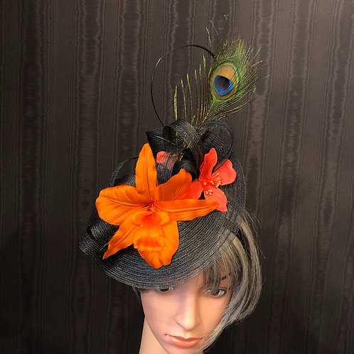 Black Crinoline Fascinator with Orchids