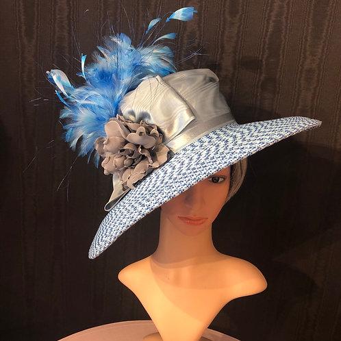 Denim blue Rio straw Bonnet with silver