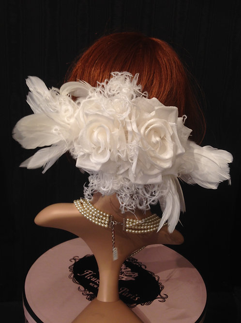Large silk rose and feather hair clip