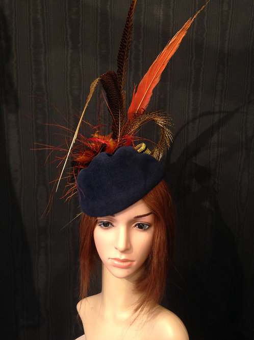 Navy fur felt Scottie with feather explosion