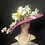 Thumbnail: Fuchsia straw bonnet with pastel painted flowers