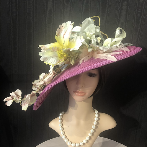 Fuchsia straw bonnet with pastel painted flowers