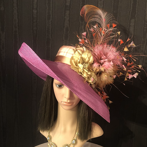 Fuchsia pink straw Tiffany with feather explosion