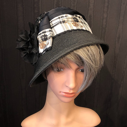 Black Straw Cloche with French Ribbon