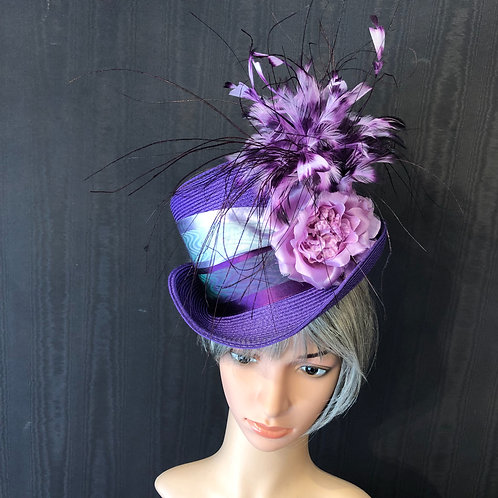 Purple Straw Rider with Feathers