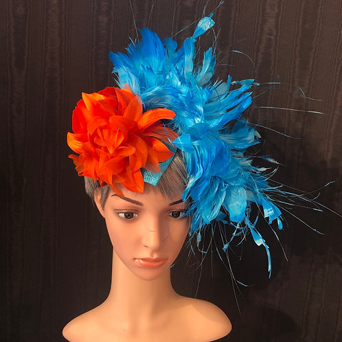 Teal and orange fascinator