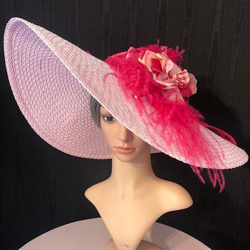Light pink braid straw 7 inch with fuchsia