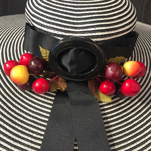 Striped straw Boater with cherries