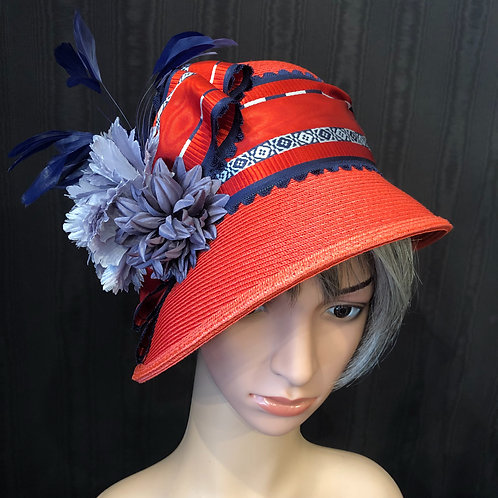 Red Straw Cloche with Blue and White