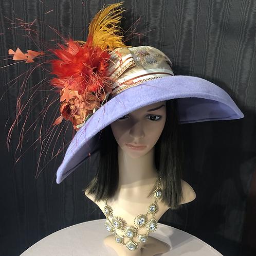 Lavender fur felt oversized bonnet with floral