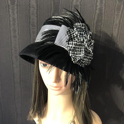 Black fur felt Louise with grosgrain stripe