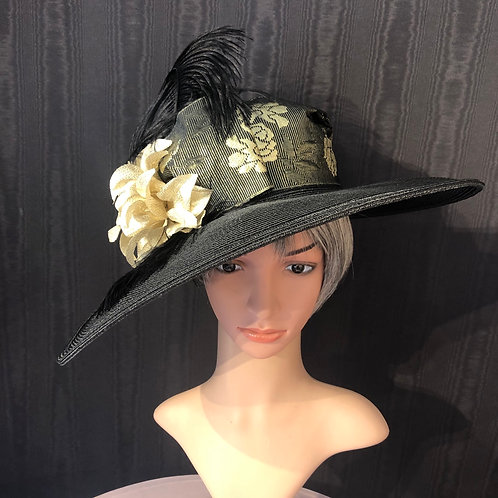 Black straw Bonnet with gold rose ribbon