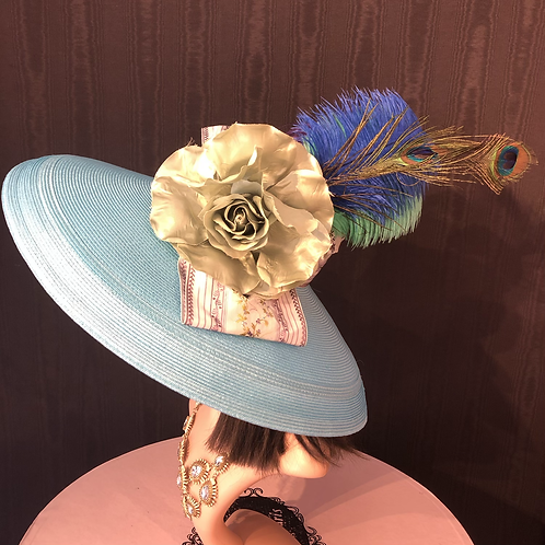 Turquoise straw Tiffany with French floral ribbon