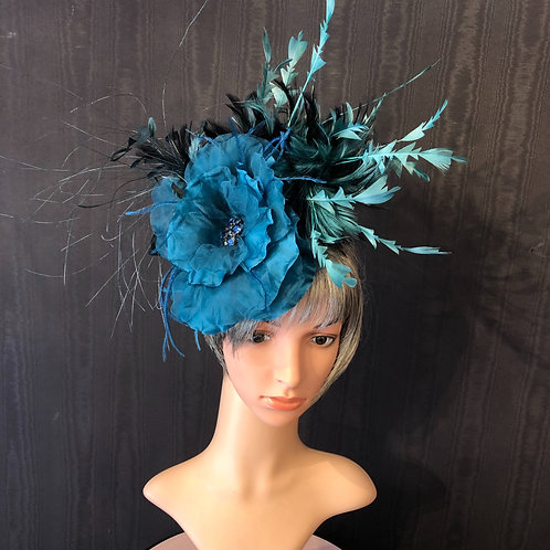 Teal Silk and Feather Fascinator