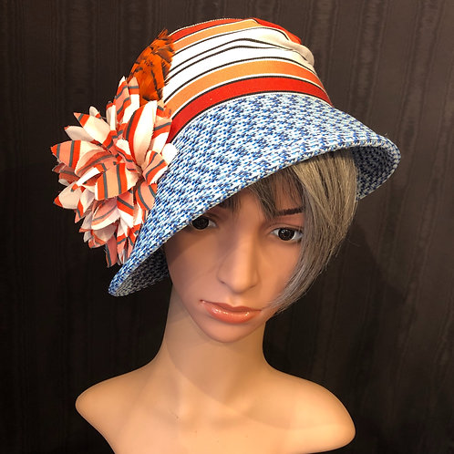 Blue Rio Straw Cloche with Orange Stripe