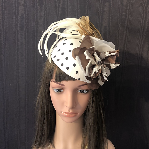 Black and white polkadot mini cap with vintage Beal feathers and two-tone