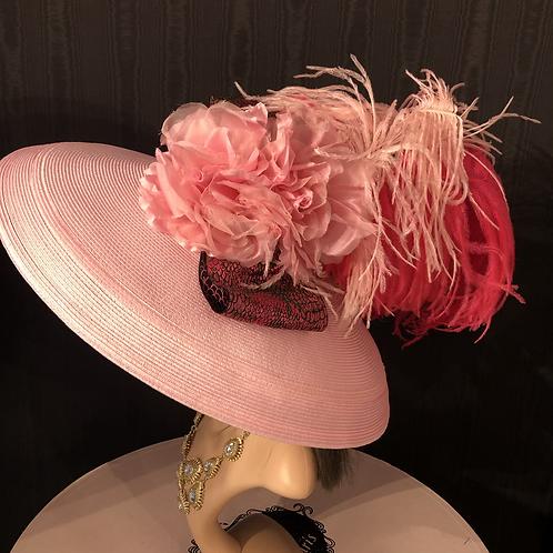 Light pink straw Tiffany with fuchsia