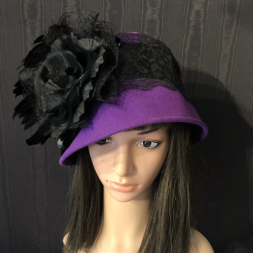 Vibrant purple vintage felt cloche with black lace