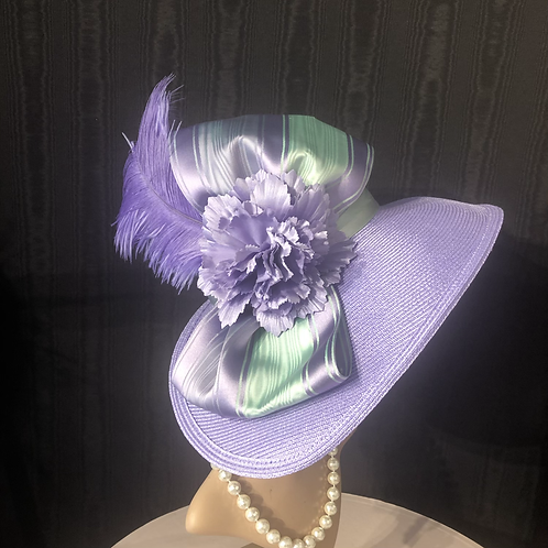 Lavender Straw and Bonnet with mint green