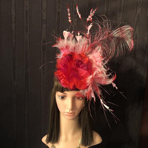 Flamingo Fire feather fascinator