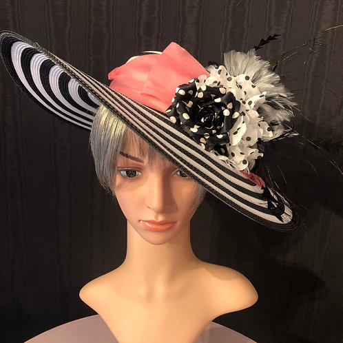 """Black and white striped 5"""" with pink"""