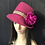 Thumbnail: Hot pink vintage felt Trilby with sequins and peacock