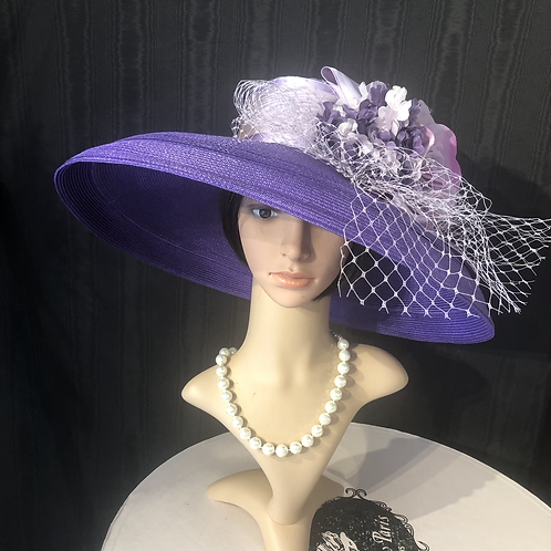 Royal purple Straw Tiffany with lavender