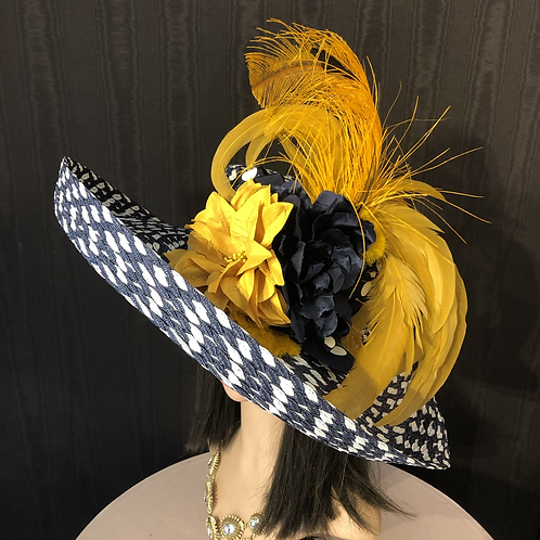 Navy and white braided straw Tiffany with goldenrod yellow