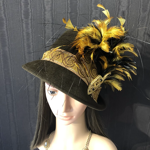 Chocolate fur felt Trilby with black and gold