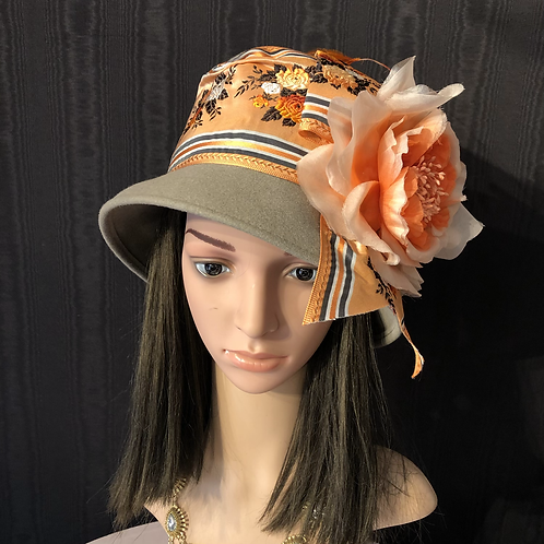 Taupe vintage felt square crown Coco with orange