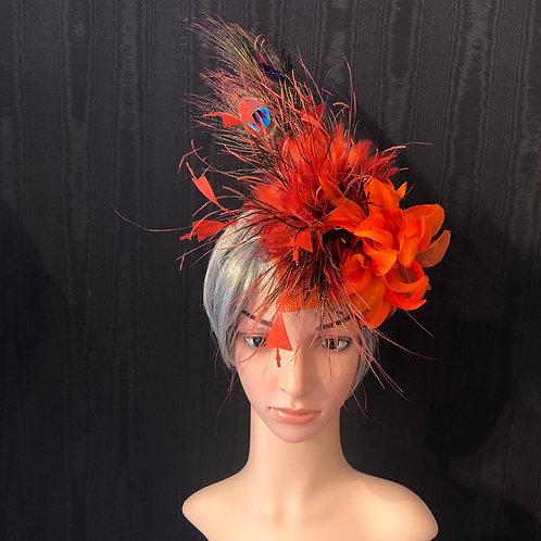 Orange and peacock fascinator