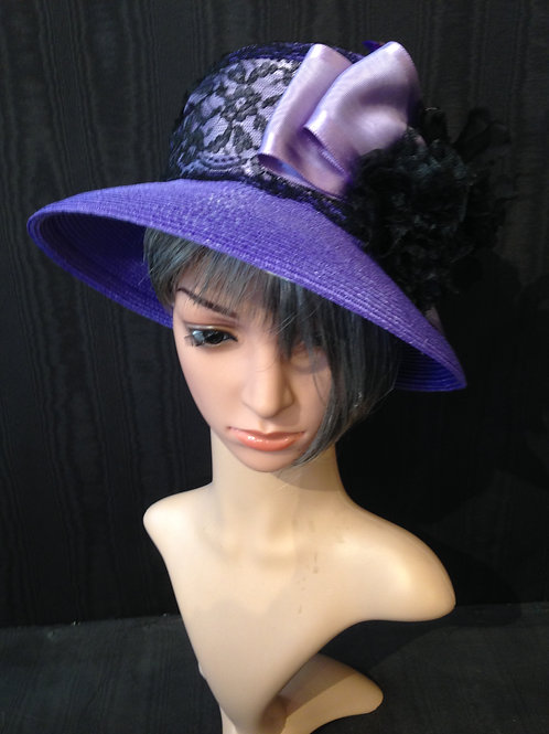 Purple straw Coco with black lace