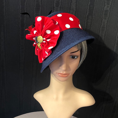 Navy straw cloche with red polkadots