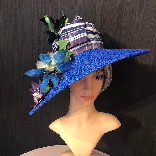 Cobalt braid straw Bonnet with plaid