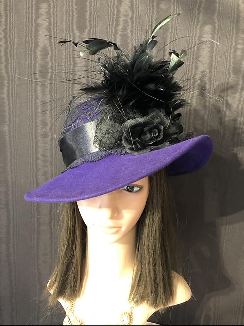 Royal Purple Vintage Felt Ingrid with Black Lace