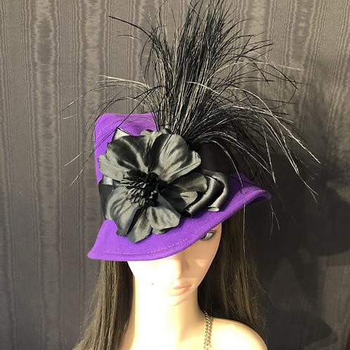 Vibrant purple vintage felt Fifi with black