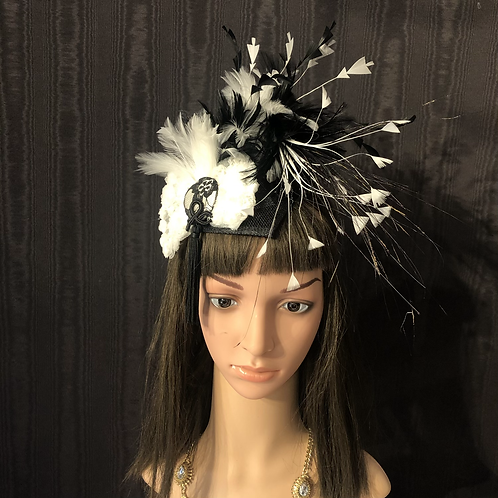 Black and White feather fascinator