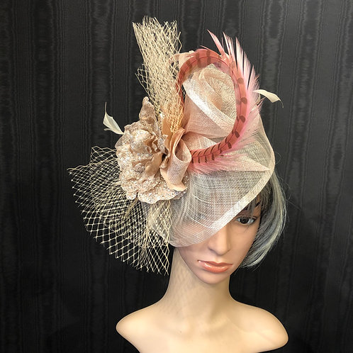 Rose Gold Sinamay Fascinator