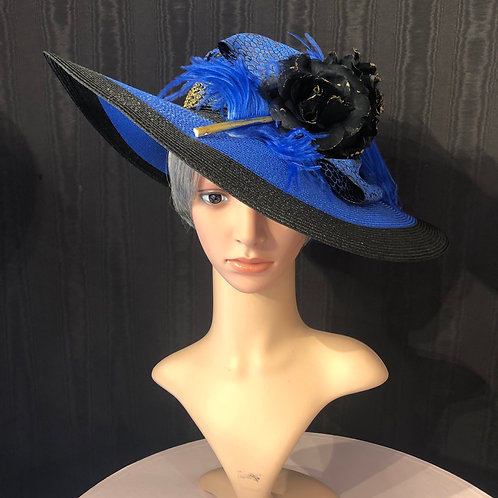 """Cobalt straw 5"""" with black and gold"""