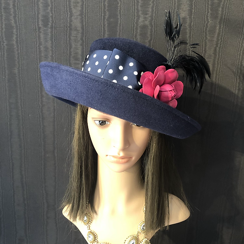 Navy felt Annie with pink leather rose