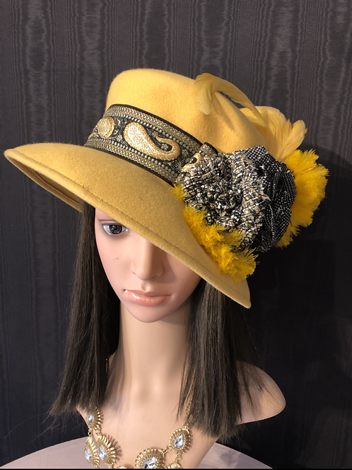 Gold vintage felt mad hatter with brocade ribbon