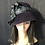 Thumbnail: Aubergine felt cloche with silver and black