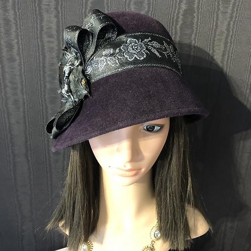 Aubergine felt cloche with silver and black