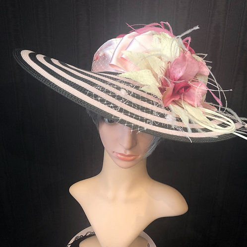 """Black and Pink Stripe 5"""" with Irises"""