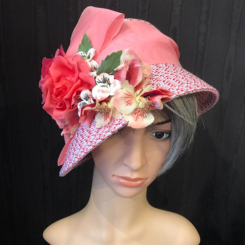 Pink Rio Straw Cloche with Pansies