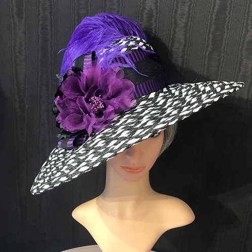Black and white braid straw Bonnet with purple